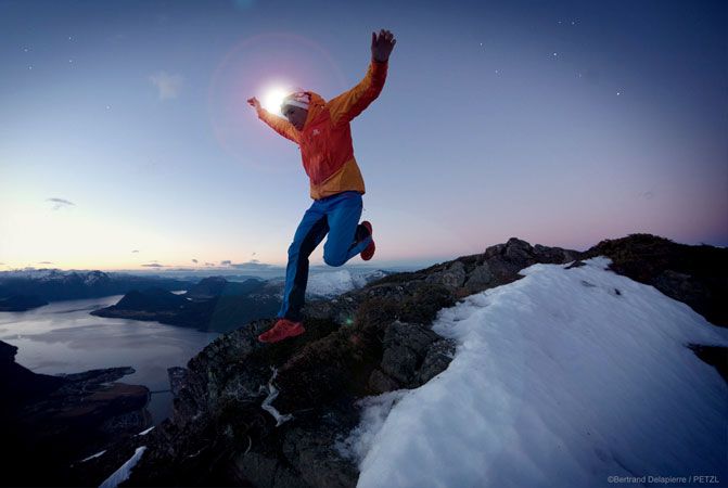 "Kilian Jornet in Norway - Making-of the movie ""Kilian in the Northern Lights"" ©Bertrand Delapierre - Running at night is always a magical experience… The dark ever so slightly alters our perception of reality and the surrounding environment"