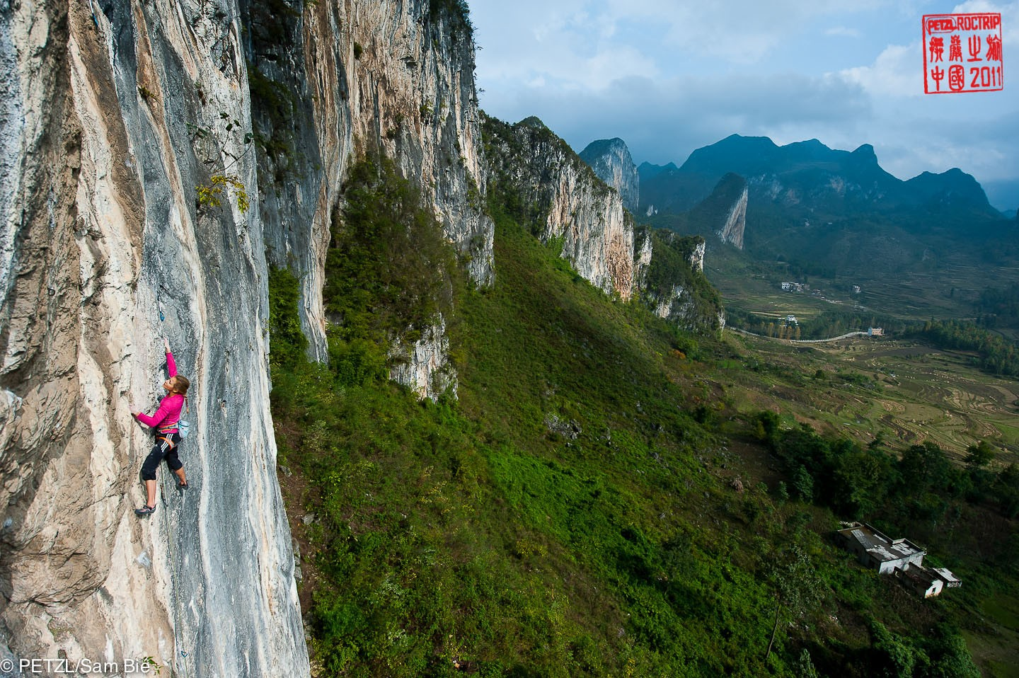 Sasha DiGiulian climbing Gétu Hé - Petzl RocTrip China 2011 ©Sam Bié
