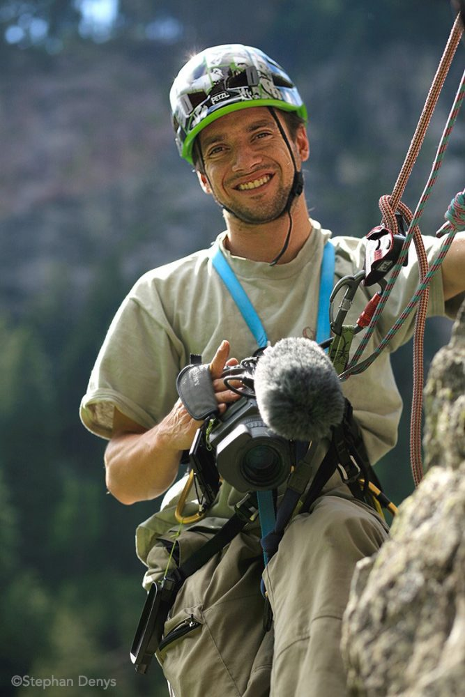 Guillaume Broust filming at the Petzl RocTrip Zillertal - photo ©Stéphan Denys