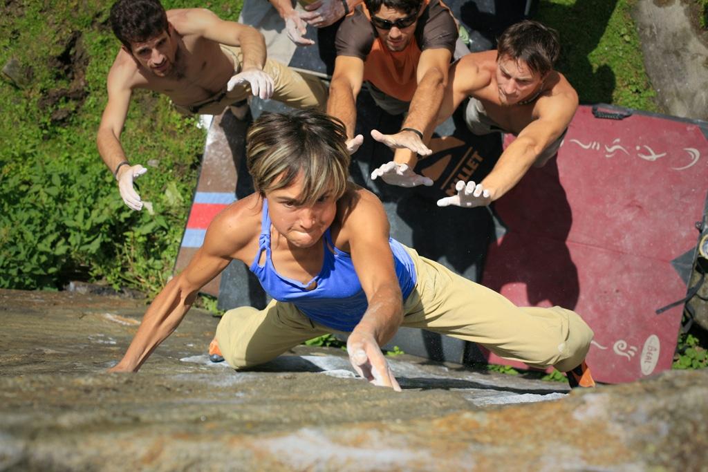 Liv Sansoz bouldering during Petzl RocTrip Zillertal ©Stephan Denys