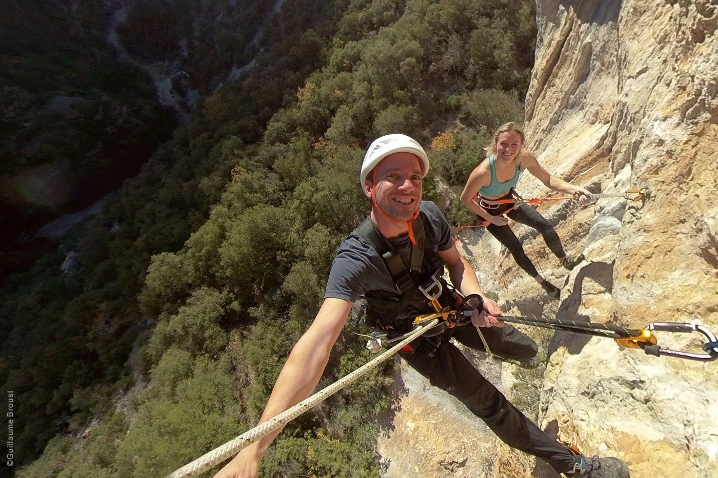 Julia Chanourdie and Guillaume Broust during the shooting in Eagle-4 (5.15b)