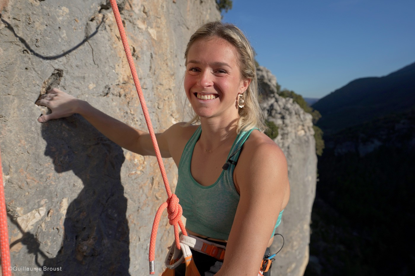 Julia Chanourdie after the climb of Eagle-4 ©Guillaume-Broust